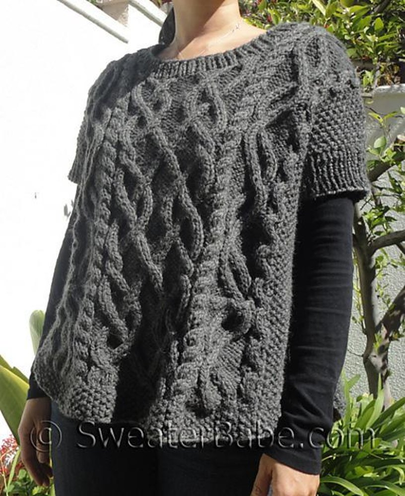 #146 Cable-y Goodness Poncho Sweater Knitting pattern by SweaterBabe.com Kn...