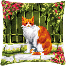 Vervaco Cross Stitch Cushion Kit Cat Between Flowers - PN-0184400