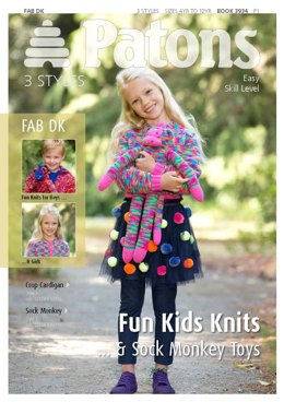 Fun Kids Knits and Socks Monkey Toys in Patons Fab DK 25g and Fab DK 100g