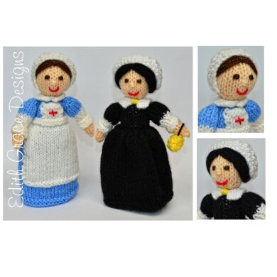 WWI Red Cross Nurse & Florence Nightingale Dolls Knitting Pattern