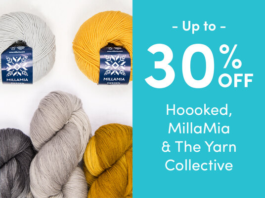 Up to 30 percent off Hoooked, MillaMia & The Yarn Collective!