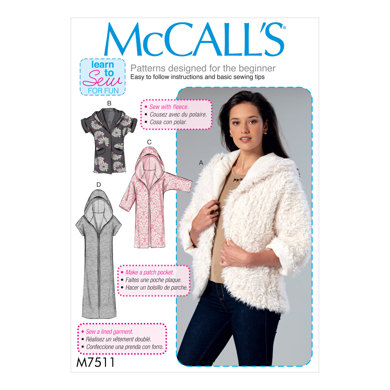 McCall's Misses' Open-Front Jackets with Shawl Collar and Hood M7511 - Sewing Pattern