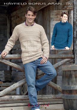 Round Neck and Stand Up Neck Sweaters in Hayfield Bonus Aran with Wool - 7251 - Downloadable PDF