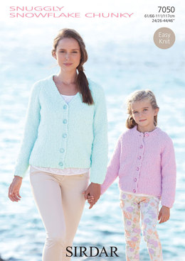 Round Neck and V Neck Cardigans in Sirdar Snuggly Snowflake Chunky - 7050