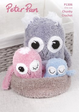 Crochet Owls with Nest in Peter Pan Precious Chunky - P1306 - Downloadable PDF