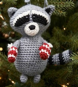 Raccoon Ornament in Red Heart Soft Solids - LW3700