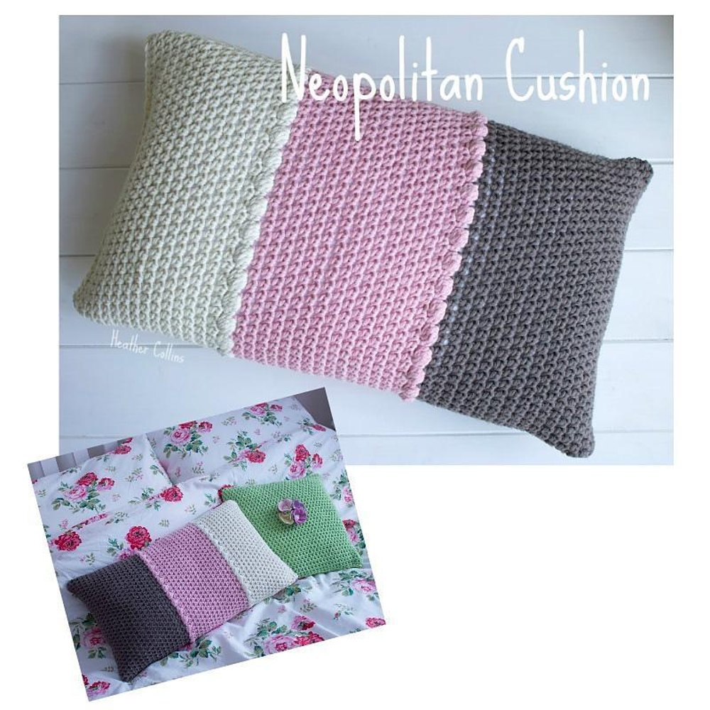 Neopolitan Cushion Cover Crochet Pattern By Pink Milk