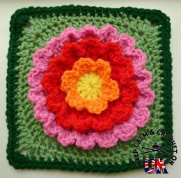 Blooming Flower Afghan Crochet Square