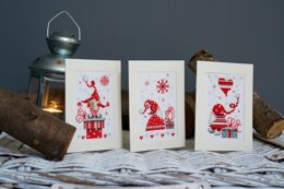 Vervaco Christmas Gnomes Cards Set (3pcs) Cross Stitch Kit