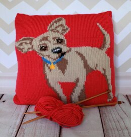 Chihuahua Pet Portrait Cushion Cover Knitting Pattern