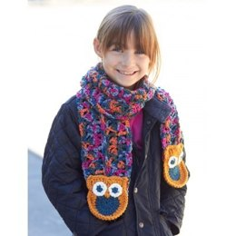Give a Hoot! Scarf in  Bernat Super Value and Super Value Ombre - Downloadable PDF