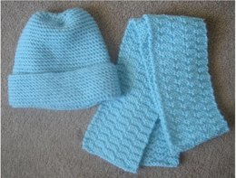 Easy Knit Hat and Scarf - Knitting ePattern