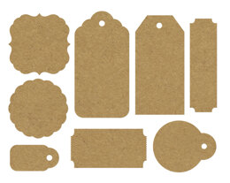 "Kaisercraft Paper Tags & Shapes 24/Pkg - 1.5""X.75"" To 3.5""X1.75"" Raw Kraft"