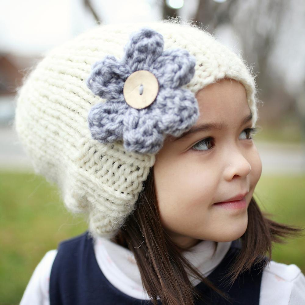 Ava Slouchy Hat With Flower Knitting Pattern By Julie Taylor