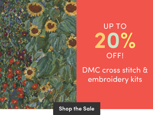 Up to 20 percent off selected DMC cross stitch & embroidery kits