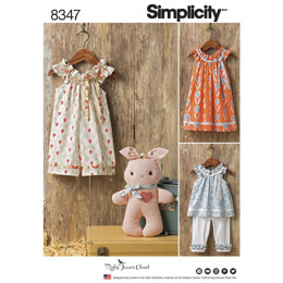 Simplicity Toddlers' dress, top and knit capris, and stuffed bunny 8347 - Paper Pattern, Size A (1/2-1-2-3-4)