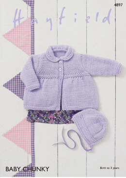 Coat & Bonnet in Hayfield Baby Chunky - 4897 - Downloadable PDF