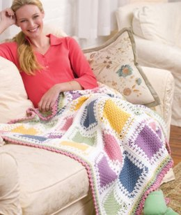 Tunisian Color Block Throw in Red Heart Super Saver Economy Solids - WR2079