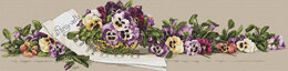 Merejka Pansy Waltz Cross Stitch Kit - 92cm x 23cm