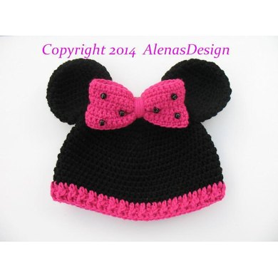 Childs Minnie Mouse Hat Crochet Pattern By Alena Byers