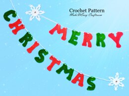 Crochet banner. Merry Christmas. Crochet letters and snowflakes. Festive wall decoration. Xmas garland