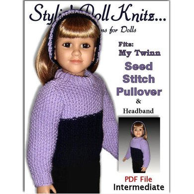 Seedstitch Pullover for My Twinn Doll, 23 inch