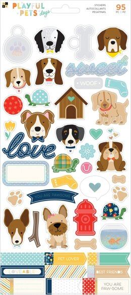 "American Crafts Playful Pets Cardstock Stickers 5.5""X12"" 2/Pkg - Dogs W/Iridescent Glitter Accents"