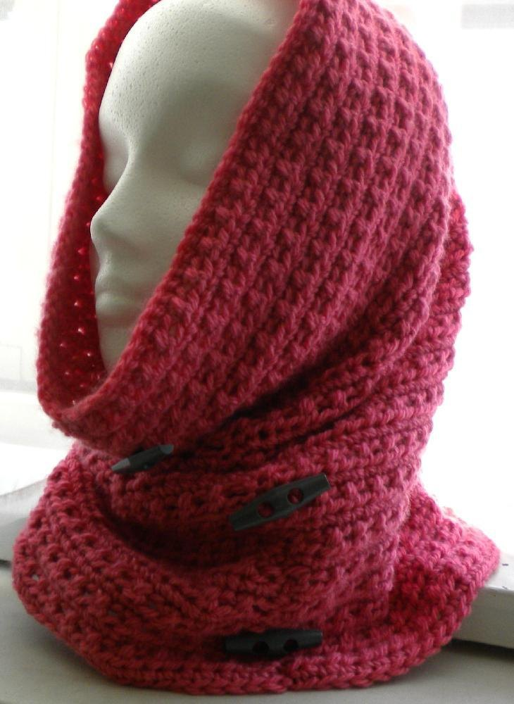 Cowl Hood with Decorator Buttons Crochet pattern by ...