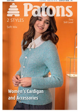Women's Cardigan and Accessories in Patons Soft Mix - 4036