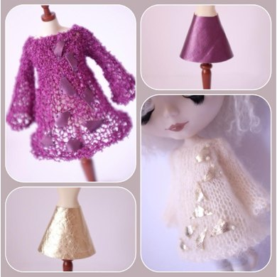 """Airy Fairy tunic dress and vinyl skirt for 12"""" Blythe, Middie Blythe and Monster High dolls"""