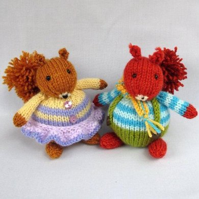 Fuzzytuft Twins - squirrel dolls