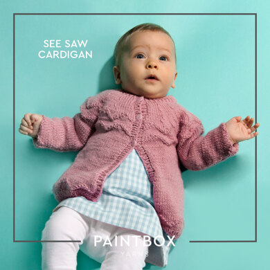 """See Saw Cardigan"" : Cardigan Knitting Pattern for Babies in Paintbox Yarns DK 