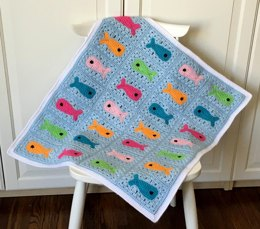 Crochet Baby Blanket Pattern With Fish: Fishy Little Baby Blanket
