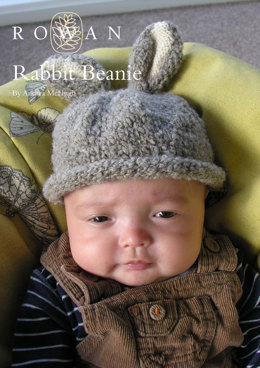 Rabbit Beanie Hat in Rowan British Sheep Breeds Fine Boucle and Pure Wool DK