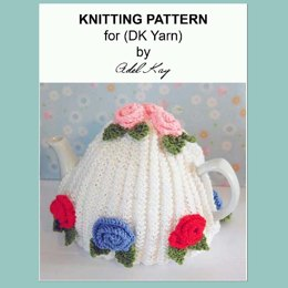 Ann Vintage Roses Style Tea Pot Cosy Cozy DK Yarn Knitting Pattern by Adel Kay