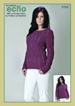 Knitted Textured Sweater in Twilleys Freedom Echo DK - 9165