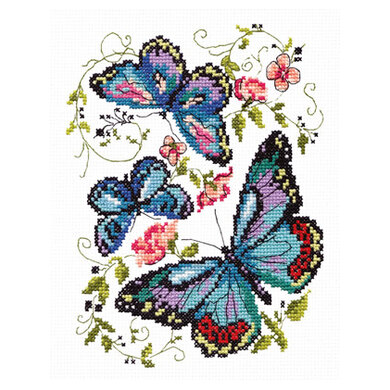 Magic Needle Blue Butterflies Cross Stitch Kit