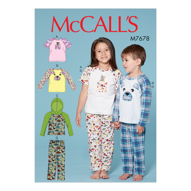 McCall's Children's/Boys'/Girls' Animal Themed Tops and Pants M7678 - Paper Pattern Size 2-3-4-5 6-