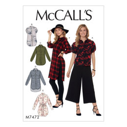 McCall's Misses' Raglan Sleeve, Button-Down Shirts and Tunics  M7472 - Sewing Pattern