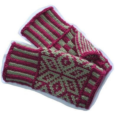 Fairisle Hand Warmers Knitting Pattern By Vickie Hartog Knitting