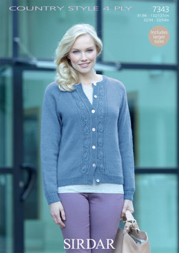 Women's Cardigan in Sirdar Country Style 4 Ply - 7343 - Downloadable PDF