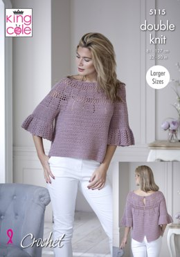 Bell Sleeve and Short Sleeve Tops in King Cole Finesse Cotton Silk DK - 5115 - Leaflet
