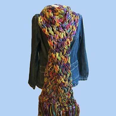 Rainbow Flame stitch scarf with Cowl Neck Variation