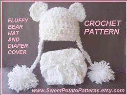 Fluffy Baby Bear Hat and Diaper Cover by SweetPotatoPatterns