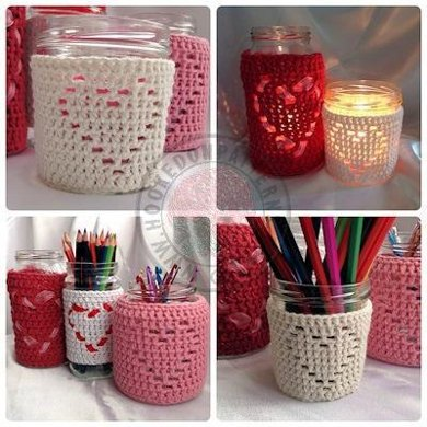 Heart Shape Jar Candle Cover Crochet Pattern By Hooked On Patterns