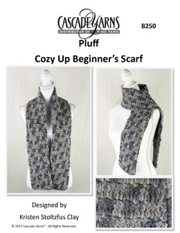 Cozy Up Beginner's Scarf in Cascade Yarns Pluff - B250 - Downloadable PDF