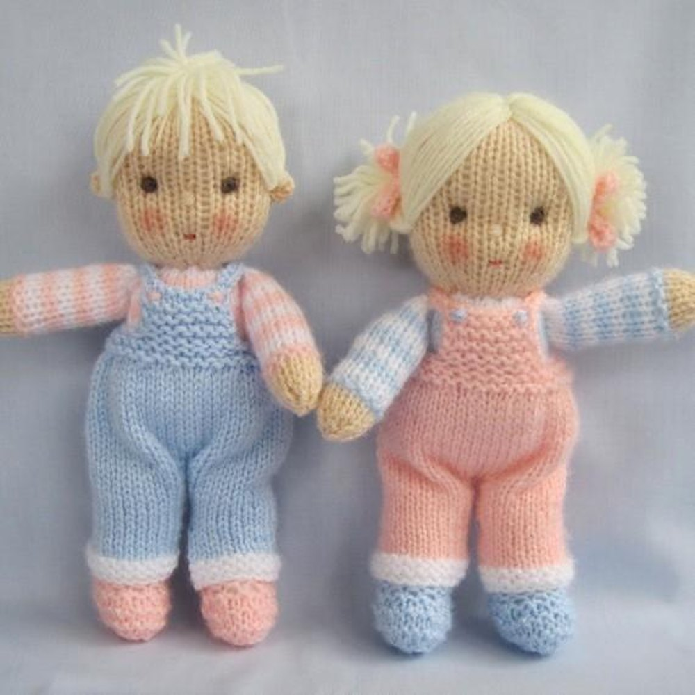 Free Knitted Doll Pattern : Jack and Jill - Knitted Dolls Knitting pattern by Dollytime Knitting Patter...