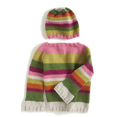 Hipster Sweater & Hat in Lion Brand Vanna's Choice Baby and Vanna's Choice - 80029AD
