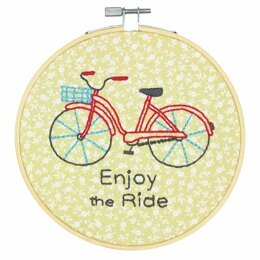 Dimensions Bike Ride Crewel Embroidery Kit with Hoop