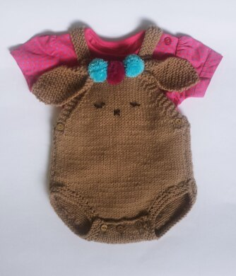 Bunny Romper with pompom trims for baby
